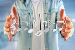 3d rendent des notes de musique sur une interface futuriste Photos stock