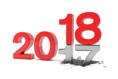 3d rendent des numéros 2017 - 18 au-dessus du fond blanc Image stock