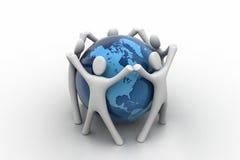 3d rendent des personnes autour du globe Photo libre de droits