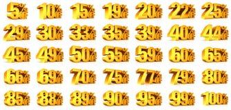 3D rendent des pour cent des textes d'or sur le blanc Images stock