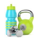 3d rendent du kettlebell, de la bouteille de sport et des haltères Images stock