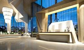3d rendent du lobby de réception d'hôtel de luxe illustration de vecteur