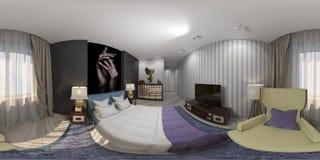 3d rendent du panorama sans couture de conception intérieure de la chambre à coucher Image libre de droits