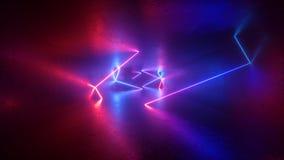 3d rendent, fond au néon abstrait, la lumière UV fluorescente, pièce vide, maquette minimale moderne, lignes rougeoyantes bleues  illustration stock