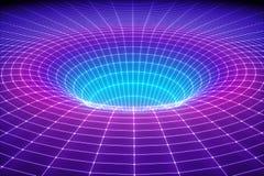 3d rendent, fond cosmique abstrait, entonnoir, l'espace, maille, grille, spectre ultraviolet, gravité, matière, trou de ver