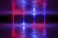 3d rendent, fond psychédélique abstrait, lampes au néon, grille de réalité virtuelle, lignes rougeoyantes, boîte, pièce, l'ultrav illustration libre de droits