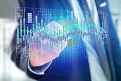 3d rendent l'affichage d'informations sur les données de commerce de bourse des valeurs sur a Photo stock