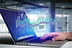 3d rendent l'affichage d'informations sur les données de commerce de bourse des valeurs sur a Image libre de droits