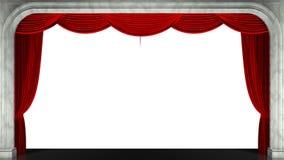 3D rendent l'agrafe d'un rideau rouge en étape d'ouverture Masque animé supplémentaire clips vidéos