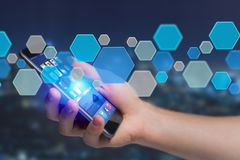 3d rendent l'application vide faite de bouton hexa bleu montré dessus Photographie stock