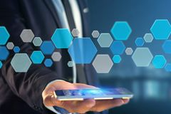 3d rendent l'application vide faite de bouton hexa bleu montré dessus Image libre de droits