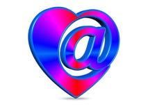 3D rendent l'email Sumbol de coeur d'abstraction illustration libre de droits
