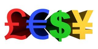 3D rendent l'image des symboles monétaire Images libres de droits