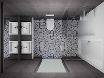 3D rendent l'intérieur moderne de la salle de bains Photo stock