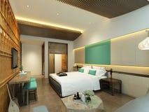 3d rendent la chambre à coucher moderne d'hôtel illustration stock