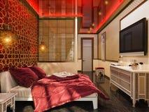 3d rendent la conception intérieure de style islamique de chambre à coucher Image libre de droits