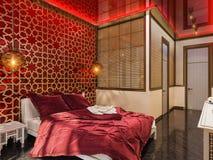 3d rendent la conception intérieure de style islamique de chambre à coucher Photos stock