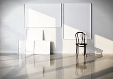 3d rendent la disposition pour des annonces, des peintures et des affiches Pièce blanche avec des toiles et une chaise Maquette image libre de droits