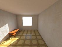 3d rendent la pièce d'appartements de designe avec le papier peint et le linoléum, et la table en bois Photo libre de droits