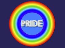 3d rendent le cercle gai de drapeau ont barré l'autocollant par illustration libre de droits