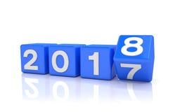 3d rendent - le concept 2018 de nouvelle année - des cubes - bleu Images libres de droits