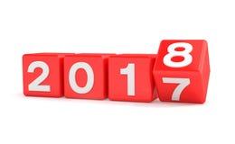 3d rendent - le concept 2018 de nouvelle année - des cubes - rouge Image libre de droits