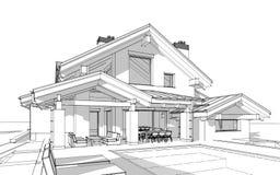 3D rendent le croquis de la maison confortable moderne dans le style de chalet