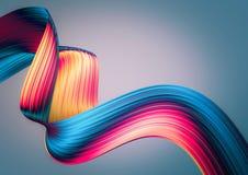3D rendent le fond abstrait Formes tordues colorées dans le mouvement Art numérique généré par ordinateur image stock