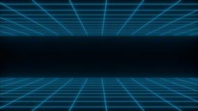 3D rendent le fond abstrait net de wireframe de synthwave Future rétro ligne illustration de grille illustration stock