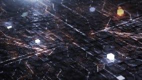 3d rendent le fond de Digital avec le circuit et le cube au néon illustration stock