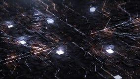 3d rendent le fond de Digital avec le circuit et le cube au néon illustration libre de droits
