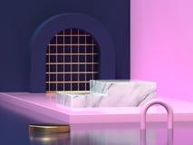 3d rendent le fond géométrique de forme de mur de plancher d'abrégé sur rose bleu-foncé coin illustration de vecteur