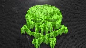 3d rendent le fond vert de Digital de crâne des nombreuses places noires Images stock