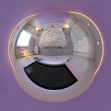 3d rendent le panorama de la conception intérieure de chambre à coucher Images stock