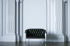 3d rendent le sofa de vintage en plan rapproché avant intérieur blanc classique illustration libre de droits