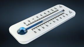 3D rendent le thermomètre blanc froid indiquant la basse température illustration de vecteur