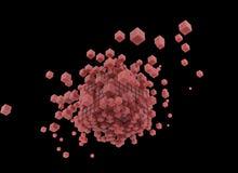 3d rendent les cubes roses et le fond noir illustration libre de droits
