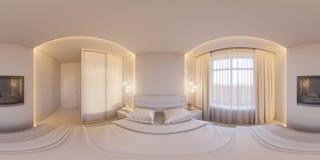 3d rendent les 360 degrés sphériques, panorama sans couture d'une chambre à coucher blanche Photos libres de droits
