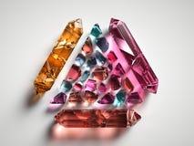 3d rendent, ont assorti les cristaux spirituels colorés d'isolement sur le fond blanc, pierres gemmes, quartz curatif, pépites illustration stock