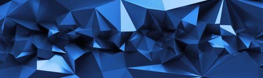 3d rendent, soustraient le fond en cristal bleu, texture facettée, macro panorama, papier peint polygonal panoramique large illustration libre de droits