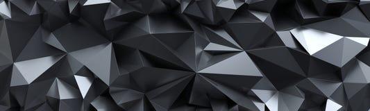 3d rendent, soustraient le fond en cristal noir, texture facettée, macro panorama, papier peint polygonal panoramique large illustration de vecteur