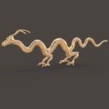 3d rendent Statue d'or d'un dragon chinois très long illustration libre de droits