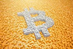 3d rendent - symbole pixelated de bitcoin fait à partir des cubes - l'orange Photographie stock libre de droits