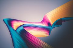 3D render abstract background. Colorful twisted shapes in motion. Computer generated digital art for poster, flyer, banner. 3D render abstract background Royalty Free Stock Photo