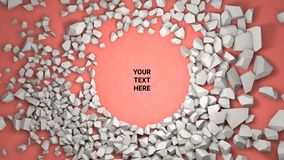 3d render background. Cracked stone placeholder on red background. 3d render abstract background. Cracked stone after explosion with your text place. Placeholder royalty free illustration
