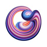 3d render, abstract background, modern curved shape, deformation, loop, colorful lines, neon light, red blue distorted object. 3d render, abstract background royalty free illustration