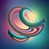3d render, abstract background, modern curved shape, deformation, glitch loop, pink mint green, glowing neon light, ultraviolet. 3d render, abstract background stock illustration