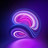 3d render, abstract background, glitchloop shape, deformation, violet pink glowing neon light, colorful lines, ultraviolet. 3d render, abstract background stock illustration