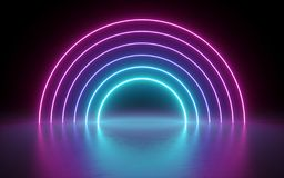 3d render, abstract background, neon lights, glowing lines, round portal, arch, virtual reality, tunnel, pink blue spectrum stock illustration