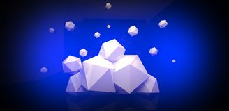 3d render. Abstract background with a polygon, neon light. Neon abstract background with backlight, modern design. White polygons scattered particles Royalty Free Stock Photography